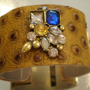 Vintage Brooch Leather Cuff Bracelet Artist Orig